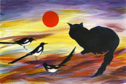 Magpies Tapestries Textiles - The Magpies tell Meow of Red by Susan Greenwood Lindsay