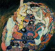 Bed Quilt Posters - The Maiden Poster by Gustav Klimt