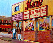 Montreal Street Life Paintings - The Main Steakhouse On St. Lawrence by Carole Spandau
