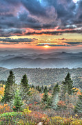 Cowee Mountain Overlook Prints - The Majestic Blue Ridge Print by Mary Anne Baker