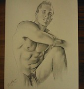 Homoerotic Drawings Originals - The Male Poser by Bobby Boyer