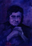 Johnny Cash Prints - The Man In Black In Blue Print by Chuck Creasy