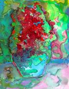 Colored Pencil Mixed Media Metal Prints - The Man in the Flower Pot Metal Print by Mindy Newman