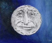 Outerspace Paintings - The Man In The Moon by Kristin Weldon Peri