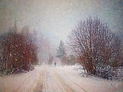 Winter Storm Art - The Man in the Snowstorm by Tara Turner