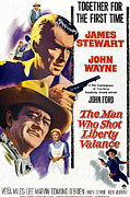 John Wayne Posters - The Man Who Shot Liberty Valance Poster by Everett