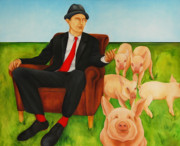 Pig Paintings - The Man Who Spoke with Pigs by Veronique Le Merre