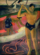 Canoe Posters - The Man with an Axe Poster by Paul Gauguin