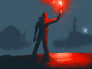 Mysterious Digital Art - The man with the flare by Pixel  Chimp