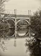 The Hills Digital Art Framed Prints - The Manayunk Bridge in Sepia Framed Print by Bill Cannon