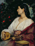 Jewellery Posters - The Mandolin Player Poster by Anselm Feuerbach