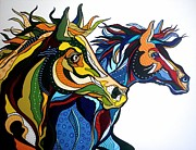 Wild Horses Drawings - The Mane Attraction by Janis Hobbs