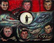 James Bond Paintings - The Many Faces of Bond...James Bond by Regina Brandt
