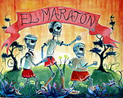 Skulls Paintings - The Marathon by Heather Calderon