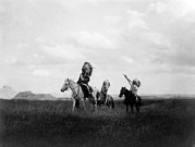Headdress Photos - The March Of The Sioux, Three Sioux by Everett