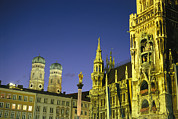 Night Scenes Posters - The Marienplatz in Poster by Taylor S. Kennedy