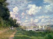 Bank Posters - The Marina at Argenteuil Poster by Claude Monet