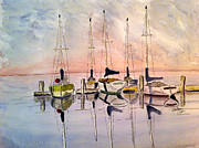 Dock Drawings Originals - The Marina by Eva Ason
