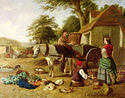 Chicken Metal Prints - The Market Cart Metal Print by Henry Charles Bryant