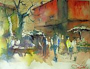Christian Couteau Art - The Market In Winter by Christian Couteau