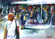 Impressionistic Market Painting Framed Prints - The Market No. 2 Framed Print by Elizabeth Shrum
