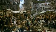 Italian Shopping Framed Prints - The Market of Verona Framed Print by Adolph Friedrich Erdmann von Menzel