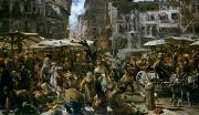 The Market Of Verona Print by Adolph Friedrich Erdmann von Menzel