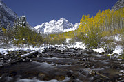 Single Prints - The Maroon Bells In Autumn Print by Robbie George