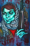 Protest Painting Prints - The Marriage of Leila Khaled Print by Khalid Hussein