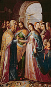 Baby Bird Painting Prints - The Marriage of Mary and Joseph Print by Mexican School