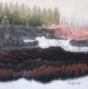 Early Morning Pastels Prints - The Marsh of Changing Color Print by Harvey Rogosin