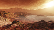Rough Terrain Framed Prints - The Martian Sun Sets Over The High Framed Print by Steven Hobbs