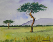 Masai Paintings - The Masai Mara by Chuck Creasy