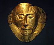 Museum Athens Posters - The Mask Of Agamemnon Poster by Bob Christopher