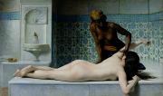 Orientalist Painting Prints - The Massage Print by Edouard Debat-Ponsan