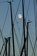 Dawn Photos - The Masts Of Sailboats, Dawn, Moon In Background by Gerhard Fitzthum