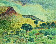 Dots Painting Framed Prints - The Maures Mountains Framed Print by Henri-Edmond Cross