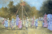 Folk Dancing Framed Prints - The Maypole  Framed Print by Peter Miller
