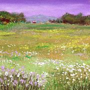 Landscapes Pastels Metal Prints - The Meadow Metal Print by David Patterson
