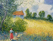 Corn Field Prints - The Meadow Path  Print by Richard Kretchmer