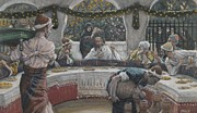 Last Supper Painting Framed Prints - The Meal in the House of the Pharisee Framed Print by Tissot