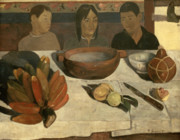 Food And Beverage Paintings - The Meal by Paul Gauguin