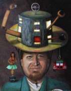 Surreal Portrait Framed Prints - The Mechanic part of the Thinking Cap series Framed Print by Leah Saulnier The Painting Maniac