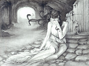 Fantasy Drawings - The Medusa by CarrieAnn Reda