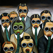 Gas Mask Posters - The Meeting Poster by Leah Saulnier The Painting Maniac