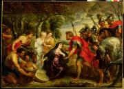 Helmet Photo Metal Prints - The Meeting of David and Abigail Metal Print by Peter Paul Rubens