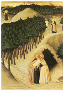 Religious Art Painting Posters - The Meeting of St. Anthony and St. Paul Poster by Sassetta