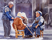 Chinese Watercolor Paintings - The Meeting Place by Sharon Freeman