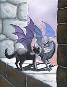 Dragon Metal Prints - The Meeting Metal Print by Stanley Morrison