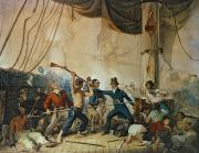 Frigate Painting Prints - The Melee on Board the Chesapeake Print by Anonymous